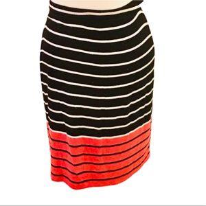 NWOT Stunning Black & Coral Striped Midi Skirt!